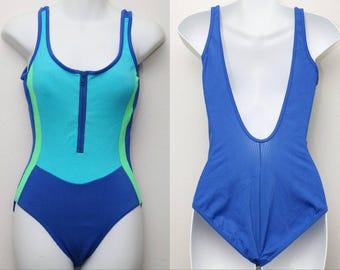 "90's Vintage ""BALTEX"" One-Piece Open-Back Colorblocked Swimsuit Sz: 10 (Women's Exclusive)"