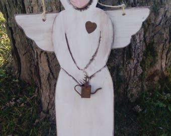 Garden Angel rustic wood