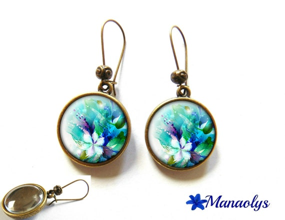 Earrings sleepers bronze, retro, fairyland flowers 1038 glass cabochons