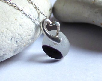 Black & White Sea Glass, Seaglass Necklace, Sea Glass Jewelry, Heart Pendant, Sterling Silver, Seaglass Jewellery, Beach Heart - PJ17009