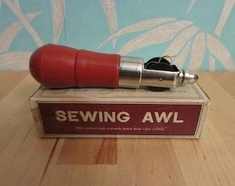 Vintage sewing awl for canvas & leather, with original box