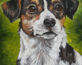 "PET PORTRAIT-Custom Painting in Acrylics on Canvas or Pastel-Original Dog Art 11""x14"""