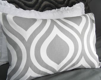 Gray.White.Pillow Cover.Nursery Decor.Home Decor Pillow.Slip Covers.Toss Pillows.Ogee Print.GREY.Office Pillows.Decor.Toss Pillows