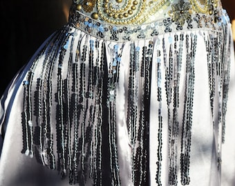 Belly Dance Belt in Vintage Silver and Gold with sequined Fringe