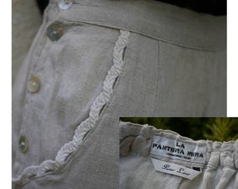 Romantic vintage trousers/pure natural linen/Natural color Grey-/bottoni beige mother of pearl on the sides/Made in Italy/Tglia S/M
