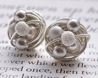 Silver / Stardust - Mix it Up Series - Swarovski Glass Pearl and Stardust bead Wire Wrapped Stud Earrings