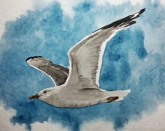 Original Watercolor Painting, Original Watercolor Artwork, Watercolor Seagull, 25x17 cm
