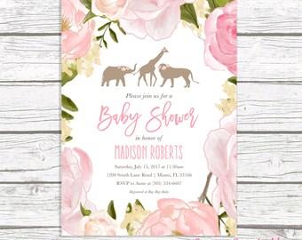 Safari Baby Shower Invitation Girl, Pink Safari Baby Shower Invitation, Floral Baby Shower Invitation, Jungle Animal Baby Shower Invite