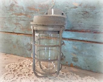 vintage stonco explosion proof industrial cage light fixture with globe and base industrial lighting caged light industrial decor