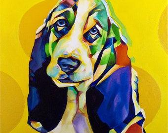 Pop Art Basset Hound – Original Framed Oil on Canvas – 12in x 12in x 1 3/8in – Animal Painting Wildlife Wall Decor – Hound Basset Hound Dog
