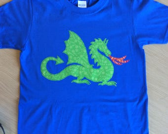 Dragon Appliqué BLUE t-shirt child size 3 - 4 or 7 - 8 years