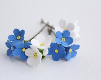 Hair bobby pin flowers. Six pin white and blue forget-me-not. Set of 6.