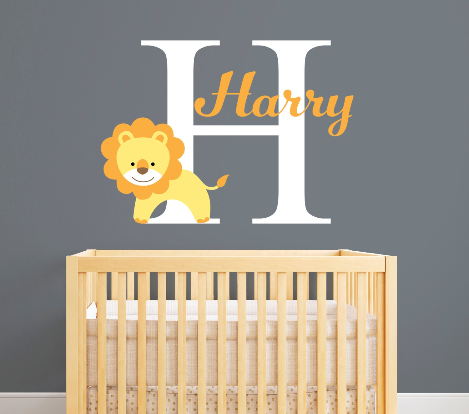Personalized Name Wall Decal Lion Wall Decal Custom Lion