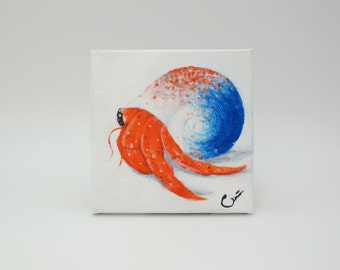 Summer Speckle Hermit crab, Blue and Orange Spekled Shell, Ocean life art, Beach, Crab Painting, Seashell, Nature, Ghibli style, Unique Gift