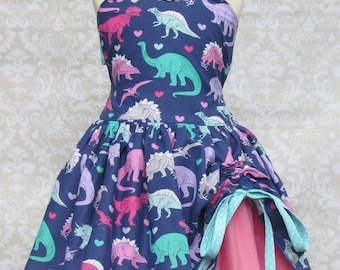 Girls Purple Dinosaur Jurassic Birthday Party Pageant Outfit Tomboy Dress