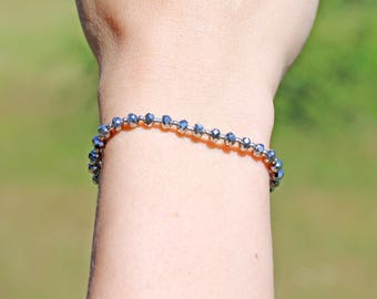Bracelet glass beads Hematit & 925 silver beads * Bracelet glass bead Beads