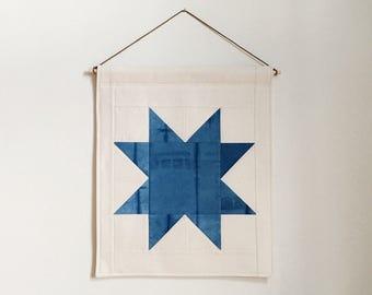Indigo Banner | Shibori Wall Hanging | Wall Quilt | Housewarming Gift | Wedding Gift | Fiber Art | Modern Home Decor | Minimalist Art