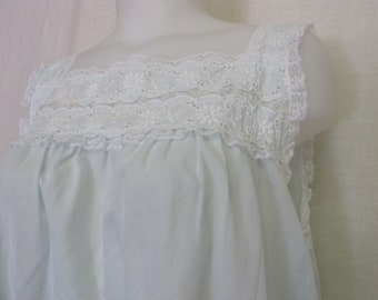 Old Fashioned  I Magnin Nightgown Summer Cotton Blend Nightgown Blue Nightgown Barbizon