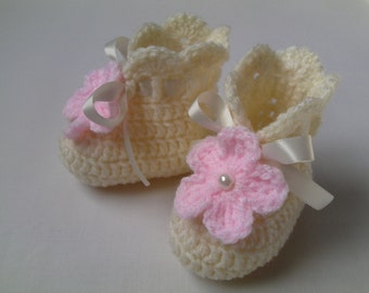 Crochet Baby Booties gift baby shower photo prop white satin ribbon ivory pink flower