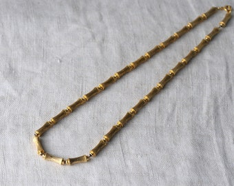 Vintage Bamboo Bead Necklace, Gold Tone, Chain Strand, KC173