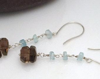 Earrings long dangle Smoky Quartz Aquamarine gemstone nugget brown taupe blue chain sterling silver simple original genuine march birthstone