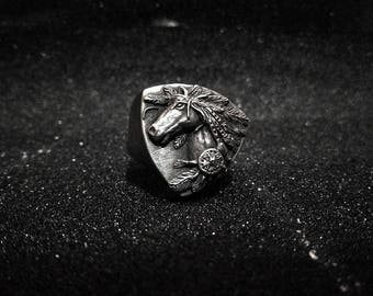 SHUNKE CANKU - iron horse 3D pewter ring, indian cowboy horses, western ride, pony tail rings, original handmade rock and roll jewelry