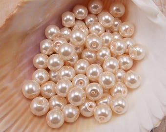 6mm Glass Pearls - Pale Peach - Very Light Peach - 75 pieces