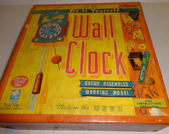 1960s The Young Clockmaker Do-It Yourself Wall Clock Building Kit.