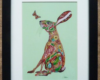 Hare Picture Hare Artwork Hare Print Colorful Hare Illustration-Nursery Print Children's Room Print Character Print-'Hello' the perfect gift