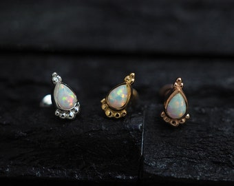 White opal cluster teardrop screw flat back cartilage stud,helix earring,lip ring,medusa piercing,conch earring
