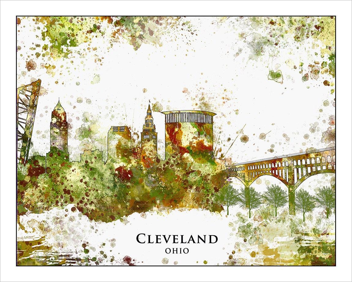 CLEVELAND Skyline Cleveland OHIO Map of Ohio Midwest Map