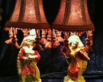 Set Of Vintage 1950s Japanese Exotic Lord And Lady Lamps