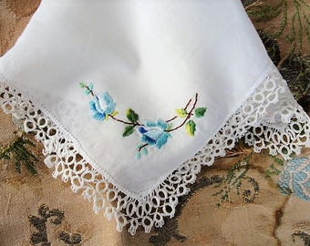 LOVELY Vintage Hankie Handkerchief Dainty TATTING Lace Hand Embroidered hanky Blue Roses Tatted Lace Trim Something Blue Bridal Hankies
