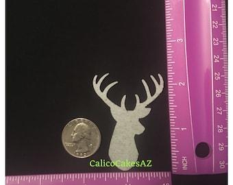 Deer Head With Antlers Wafer Paper Design