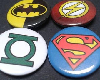 DC superhero logo badges - 25 mm - Comic - Hero - Batman - Superman - Green Lantern - Flash - Pin back button