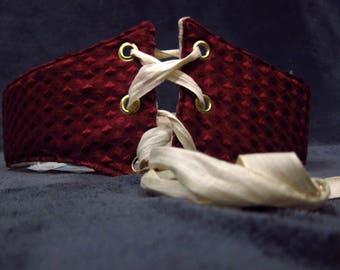 Reversible White Brocade/Ruby Red Underbust corset,Corset belt,Waist Cincher,Lace up waist belt,Renaissance Garb,Costume Free Shipping US