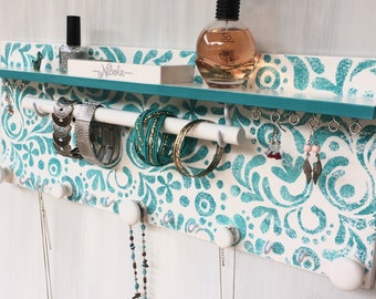 Teal & white jewelry organizer - Jewellery rack shelf - Necklace holder - Jewelry storage - Rings studs holder - Wooden knobs - Earrings