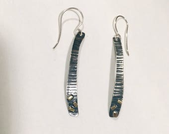 Blackened Silver with Brass accents earrings