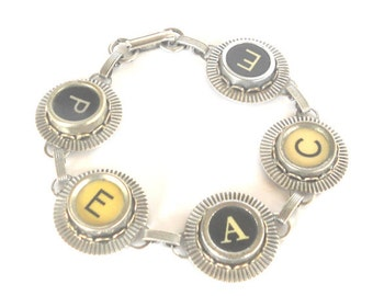 Typewriter Key Bracelet Jewelry , PEACE,  Retro, Recycyled, Reclaimed, Vintage - Custom Orders Welcome