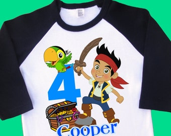 Jake and the Neverland Pirates Birthday Shirt. Personalized Raglan with Name & Age. 1st 2nd 3rd 4th 5th 6th 7th 8th 9th Birthday Tee (35037)