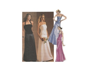 Evening Skirt and Top Floor Length Flared Skirt & Princess Seam Strapless or Halter Camisole Bust 30.5 McCalls 3683 Sewing Pattern