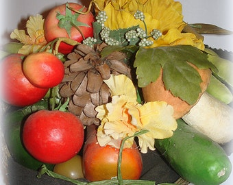 Garden Basket Centerpiece Handmade  Kitchen Veggie Arrangement Woven Silver Basket with faux Tomatoes Beans Cucumber Potato Mushroom Pepper