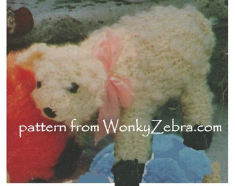 Vintage Knit Little Lamb Knitting knitted Pattern PDF 569 from WonkyZebra / ToyPatternLand