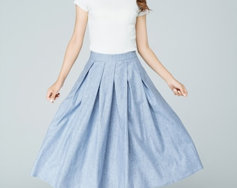blue skirt, linen skirt, summer skirt, midi skirt, circle skirt, pleated skirt, skirt with pockets, high waist skirt, gift for women  1591