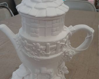 Teapot Fairy House- ready to paint- Bisque- New- Pottery