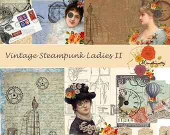 Vintage Steampunk Ladies II (Digital paper)