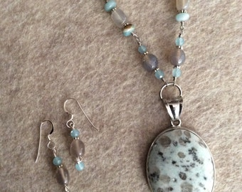 Larimar pendant wire wrapped necklace