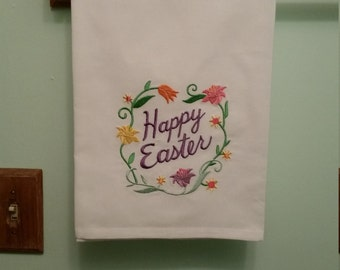 Happy Easter flowers embroidered towel