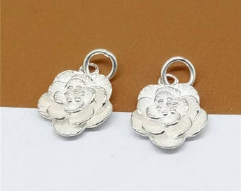Sterling Silver Small Flower Charm, Sterling Flower Charm, Flower Charm for Necklace Bracelet Earring, 925 Silver Flower Charm - JH1256