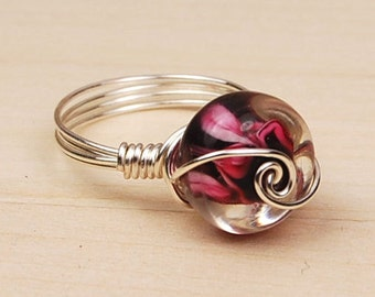 Sterling Silver Filled Wire Wrap Ring with Hot Pink Round Lampwork Glass Bead - Size 4, 5, 6, 7, 8, 9, 10, 11, 12, 13, 14